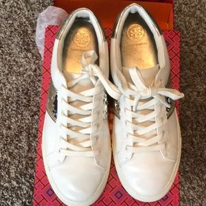 Tory Burch Gold Sequin Leather Tennis Shoes